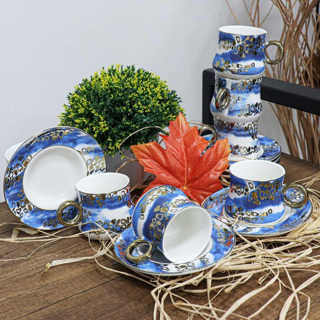 Acar CLK-10089 12 Parça Porselen Fincan Takımı Mavi