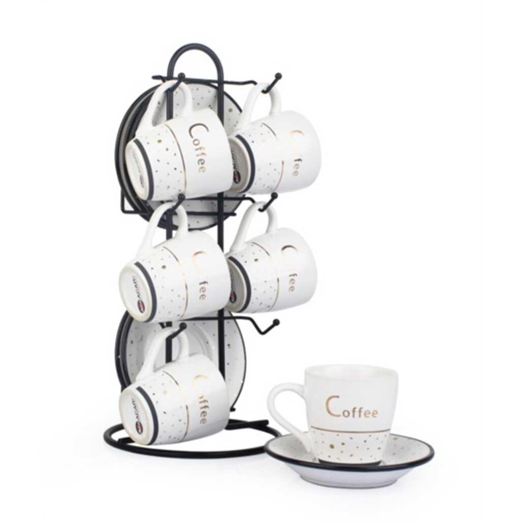 Acar CLP-9892 12 Parça Nokta Desen Metal Standlı Kahve Fincan Takımı