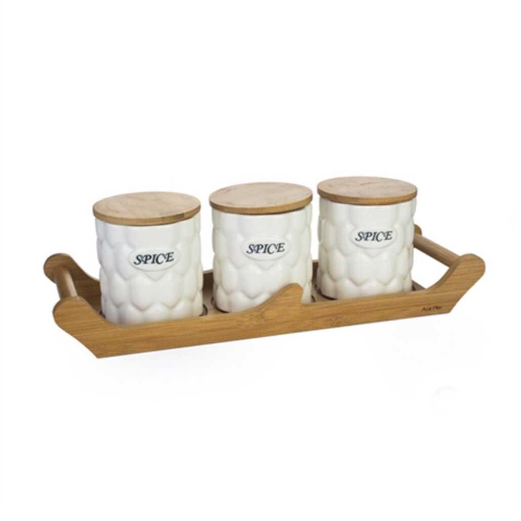 Acar PORJ-8886/8 Bambu Standlı 3lü Porselen Kavanoz Seti