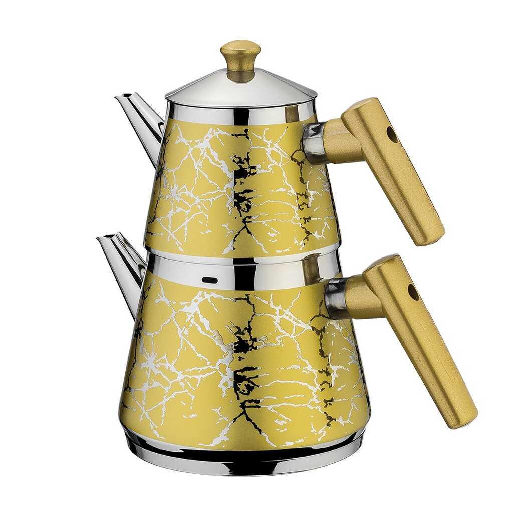 Akdeniz Sarma Desen Bakalit Kulp Mini Boy Piramit Çaydanlık Sarı