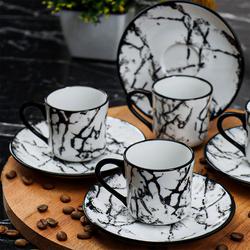 Cookbella 12 Parça Porselen Fincan Takımı Beyaz Siyah - Thumbnail