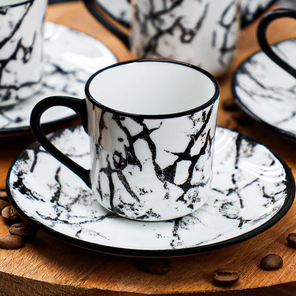 Cookbella 12 Parça Porselen Fincan Takımı Beyaz Siyah