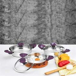 Evimsaray Firuze 6 Parça Çelik Omlet Sahan Set Mor - Thumbnail