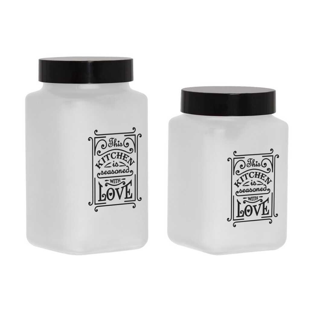 Herevin 147010-16 Mat Beyaz Boyalı Kitchen Love 2li Kavanoz Seti