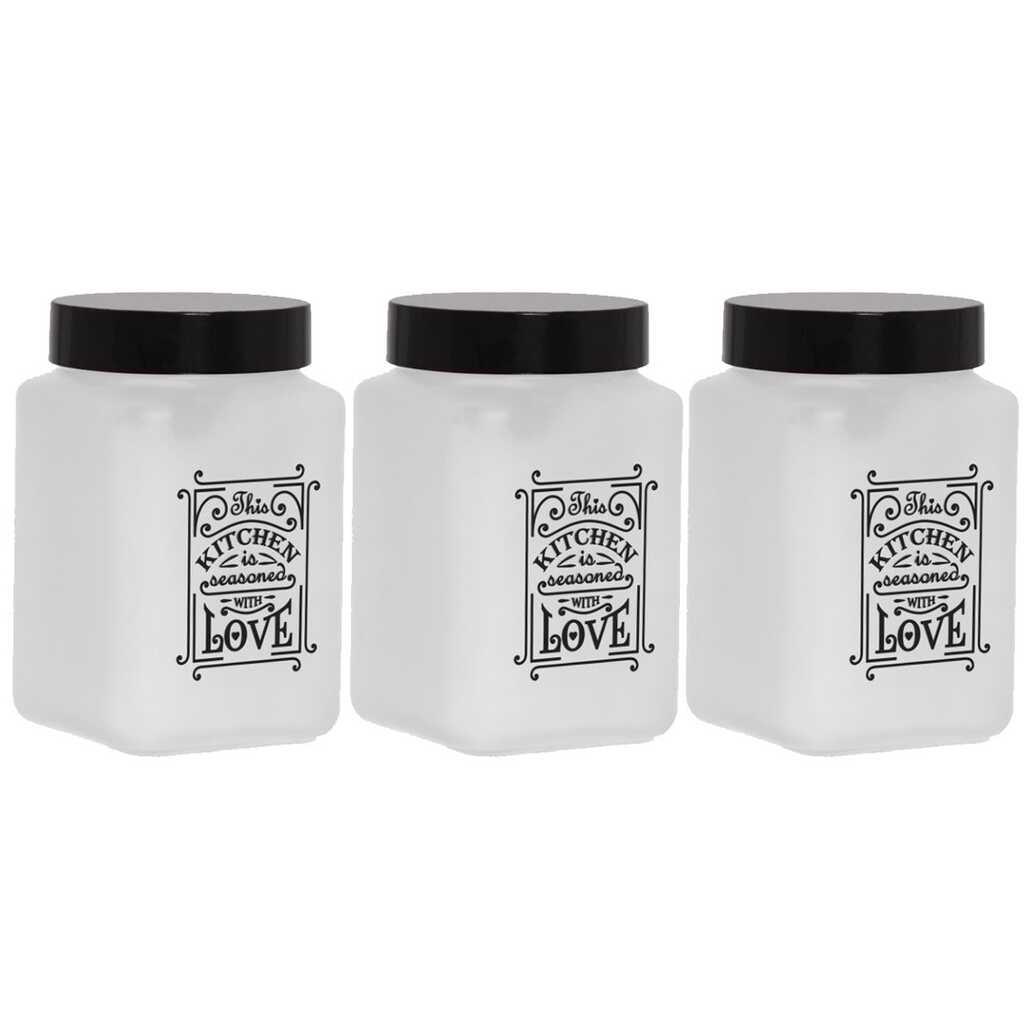 Herevin 147015-803 Mat Beyaz Boyalı Kitchen Love 3lü Kavanoz Seti