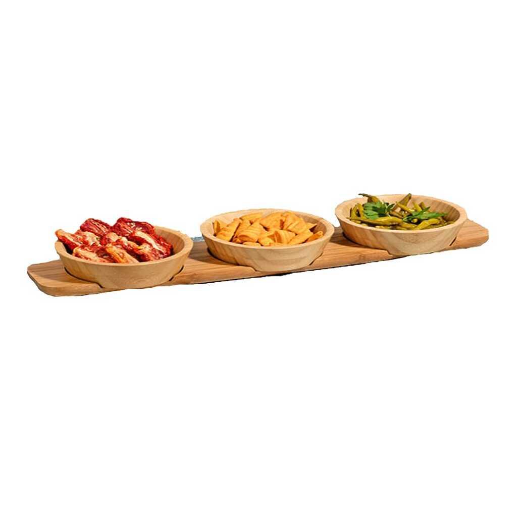 Kitchen World Bambu-589 3 Lü Tepsili Sunum Kasesi
