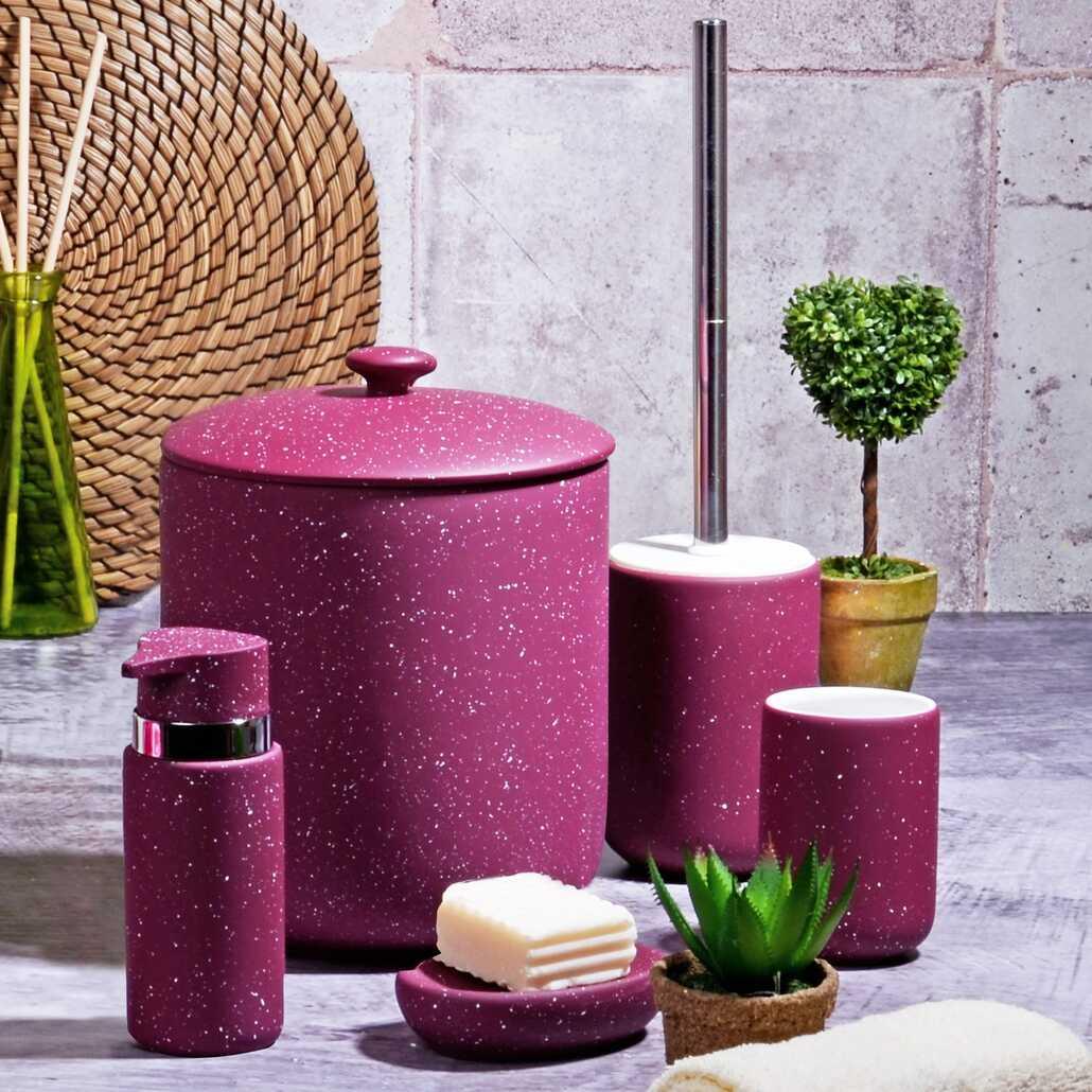 Kitchen World BNY-307 5 Parça Simli Banyo Seti Granit Mat Mor