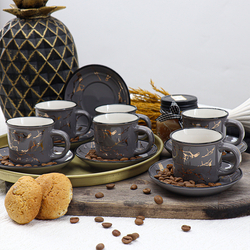 Kitchen World HLT-31 12 Parça Mermer Desen Bone Fincan Takımı Gri - Thumbnail