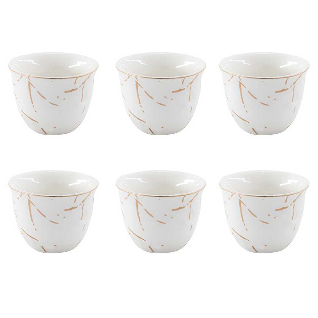 Kitchen World YFT-026 Porselen 6lı Mırra Fincanı Beyaz
