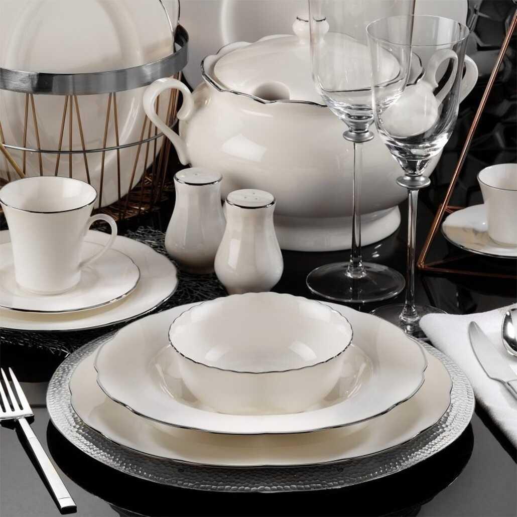 Kütahya Porselen Bone Olympos 83 Parça Yemek Takımı Platin