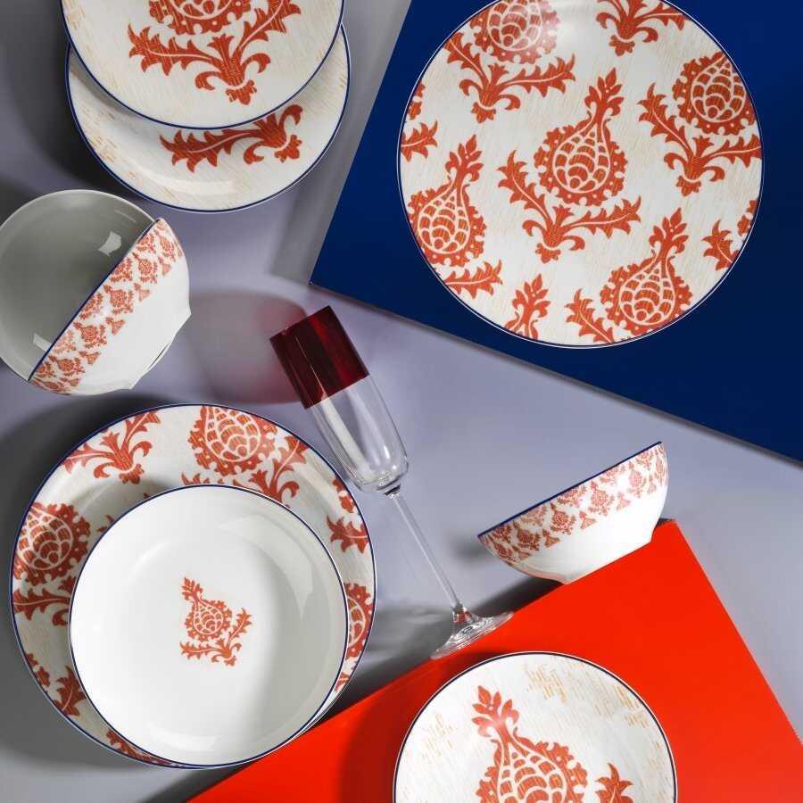 Kütahya Porselen Zeugma 24 Parça Yemek Seti Kırmızı