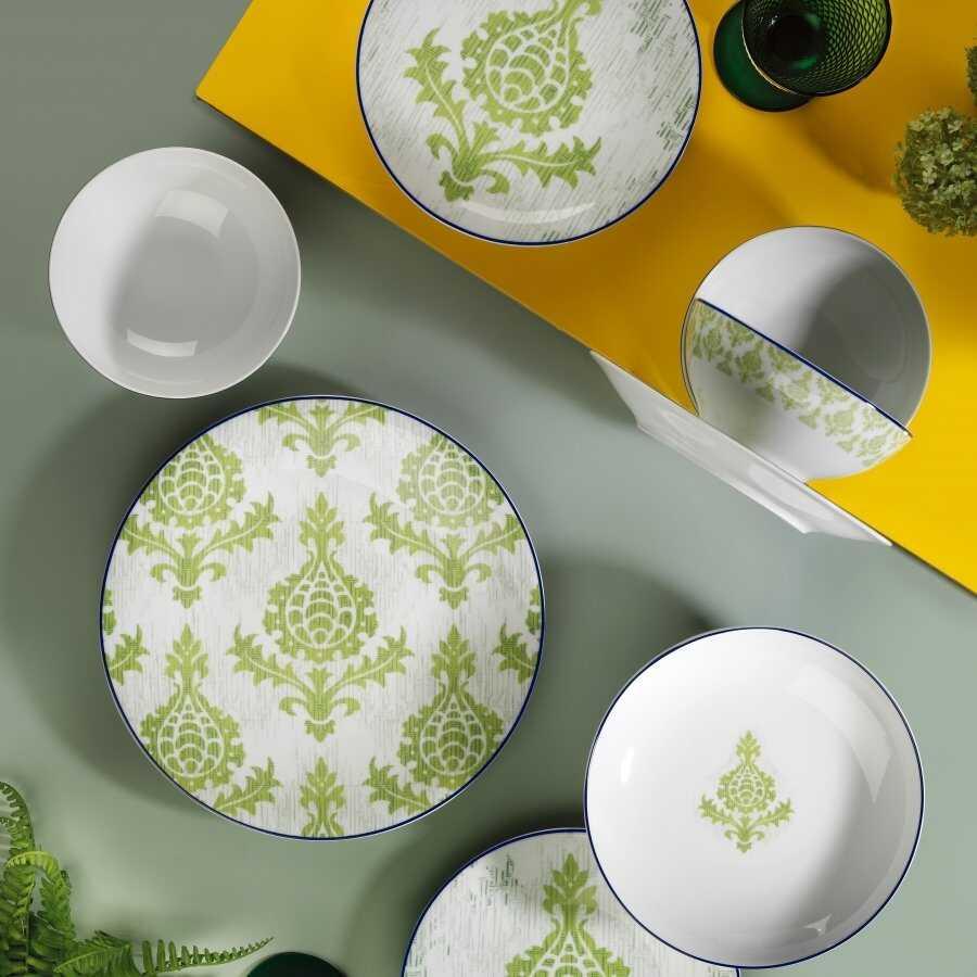 Kütahya Porselen Zeugma 24 Parça Yemek Seti Yeşil