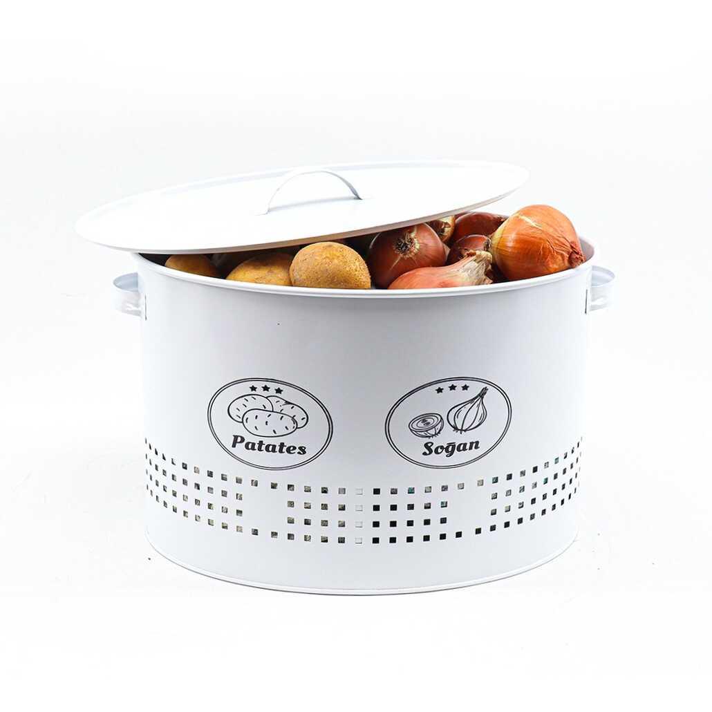 Porsima 2 Bölmeli Metal Patates Soğan Saklama Kutusu Beyaz
