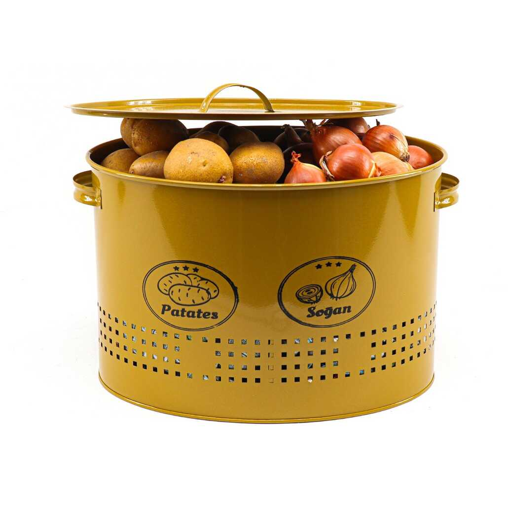 Porsima 2 Bölmeli Metal Patates Soğan Saklama Kutusu Gold