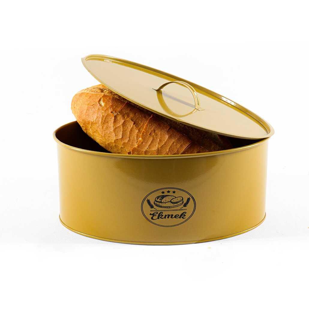 Porsima Gold Metal Oval Ekmek Kutusu