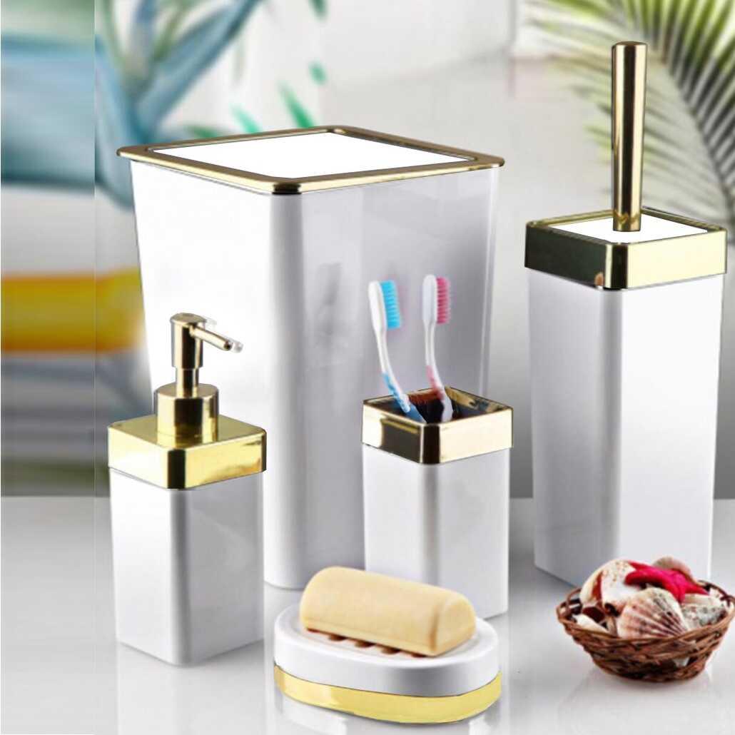 Porsima Kare Banyo Seti 5 Parça Beyaz Altın