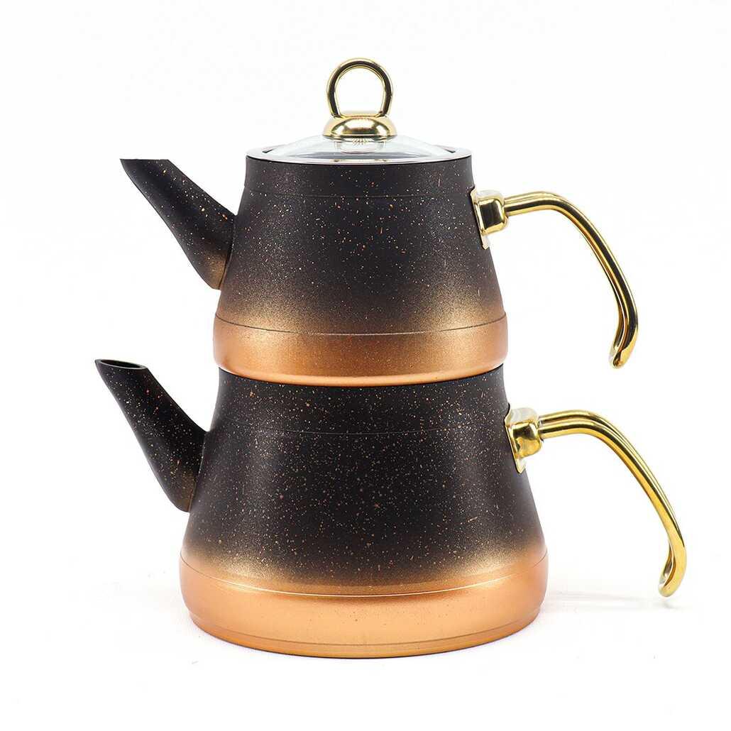 Porsima Metal Kulplu Piramit Orta Boy Granit Çaydanlık Siyah