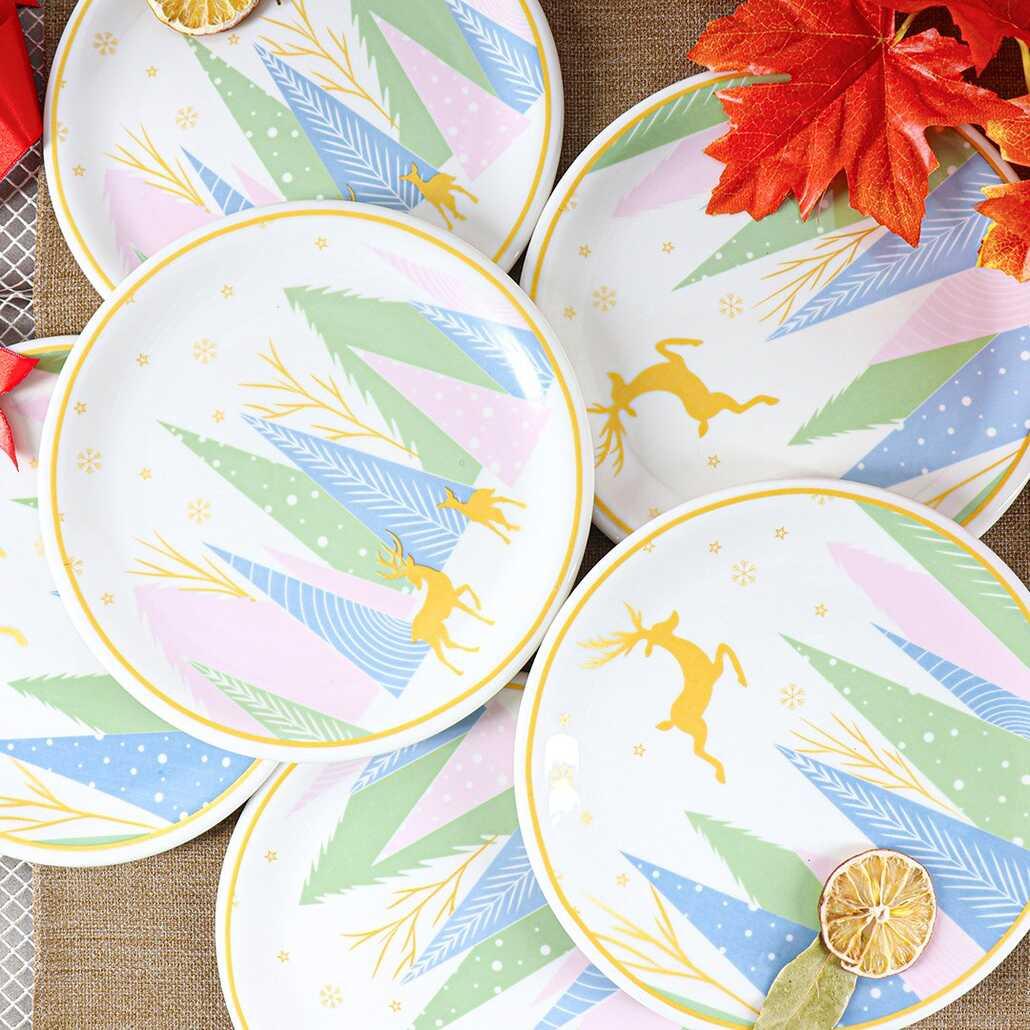 Porsima Yılbaşı Temalı Geyik Desenli 6 lı Porselen Pasta Tabağı 21 Cm