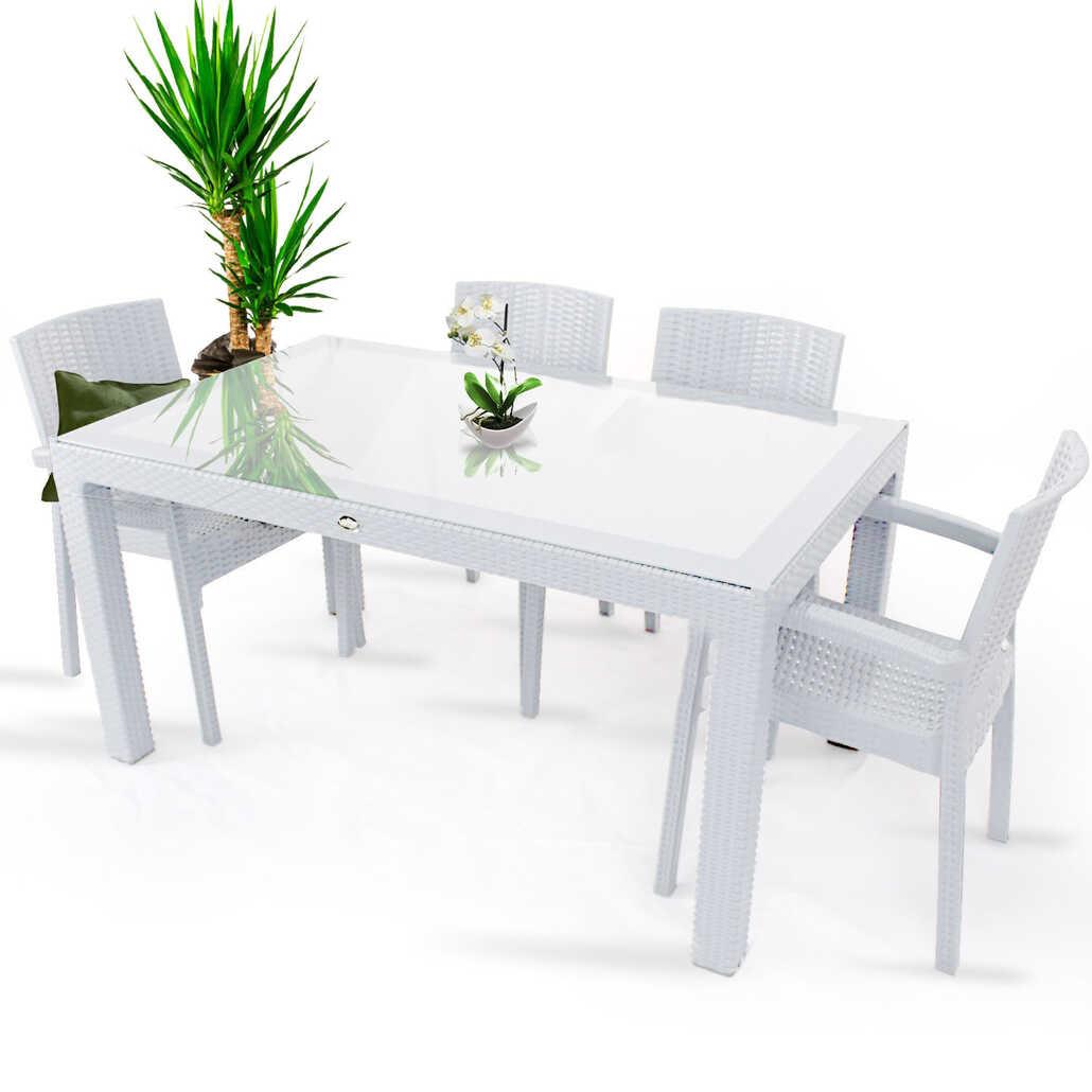 Violet Rattan 80x140cm 4lü Camlı Bahçe Mutfak Masa Takımı Beyaz