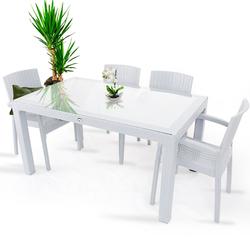 Violet Rattan 80x140cm 4lü Camlı Bahçe Mutfak Masa Takımı Beyaz - Thumbnail