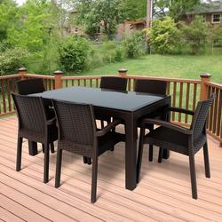 Violet Rattan 90x150cm 6lı Camlı Bahçe Mutfak Masa Takımı Kahve - Thumbnail