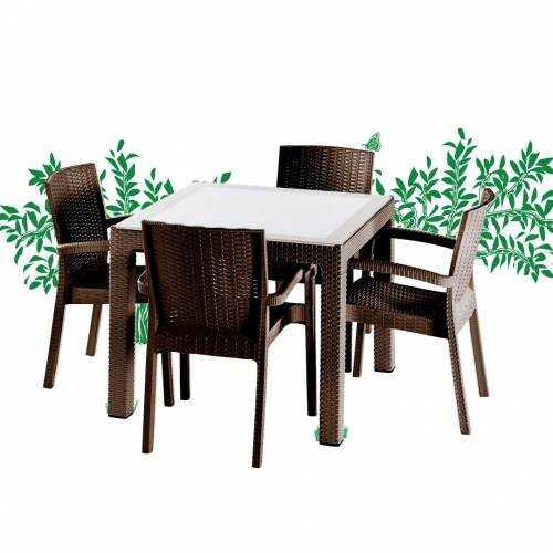 Violet Rattan 90x90cm Bahçe Mobilyası ve Masa Takımı Kahve